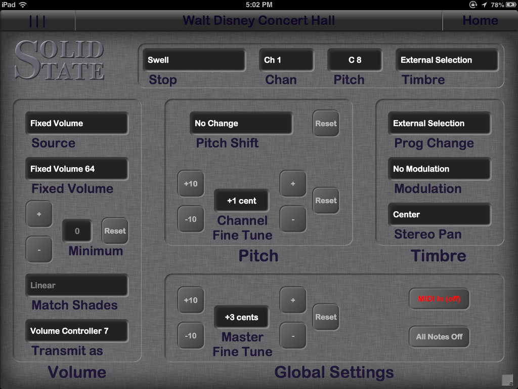 MFM control screen in Organist Palette